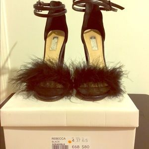 Topshop feather trimmed sandals